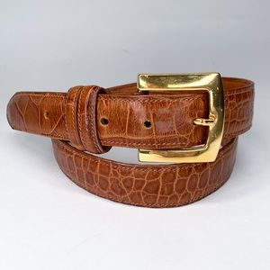 Joan & David gold buckle calfskin belt, size L